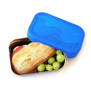 Ανοξείδωτο δοχείο φαγητού ECOlunchbox 710ml Splash Box με αεροστεγές ορθογώνιο μπλε  καπάκι από σιλικόνη
