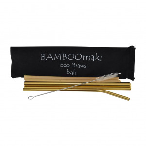 Μεταλλικά Ανοξείδωτα Καλαμάκια Xρυσαφί ΒΑMBOOmaki σε Πουγκί - ( Σετ 3 τεμ + 2 μπαμπού δώρο + βουρτσάκι + 1 πουγκί μαύρο σουέτ )