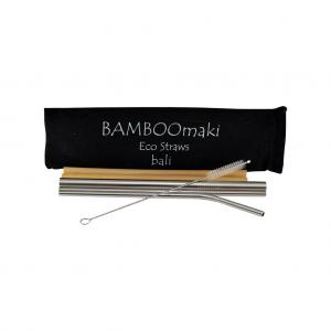 Μεταλλικά Ανοξείδωτα Καλαμάκια Ασημί ΒΑMBOOmaki σε Πουγκί - ( Σετ 3 τεμ + 2 μπαμπού δώρο + βουρτσάκι + 1 πουγκί μαύρο σουέτ )