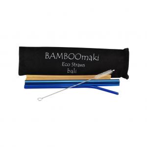 Μεταλλικά Ανοξείδωτα Καλαμάκια Μπλέ ΒΑMBOOmaki σε Πουγκί - ( Σετ 3 τεμ + 2 μπαμπού δώρο + βουρτσάκι + 1 πουγκί μαύρο σουέτ )