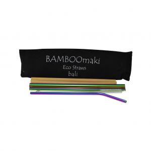 Μεταλλικά Ανοξείδωτα Καλαμάκια Rainbow ΒΑMBOOmaki σε Πουγκί - ( Σετ 3 τεμ + 2 μπαμπού δώρο + βουρτσάκι + 1 πουγκί μαύρο σουέτ )