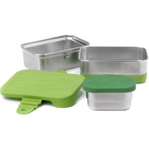 Σετ 3 ανοξείδωτα δοχεία φαγητού ECOlunchbox 946ml 3-in-1 Splash Box - με δοχείο Mini Splash Pod