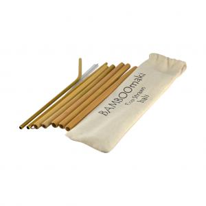 Οικιολογκά Καλαμάκια Μπαμπού σε Πουγκί ΒΑMBOOmaki - ( Σετ 5 τεμ + 2 μεταλλικά δώρο + βουρτσάκι + 1 πουγκί άσπρο λινό )